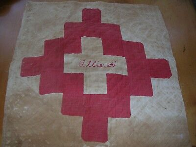 """Antique Red & White Quilt Block/ Square w/name """"Allie H"""" embroidered 15"""" square"""
