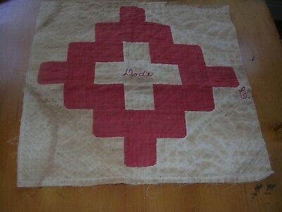 """Antique Red & White Quilt Block/ Square w/name """"Dode"""" embroidered 15"""" square"""