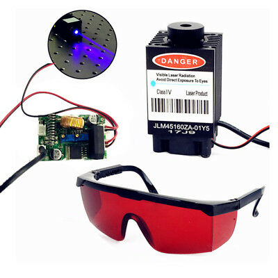 3x Blue Laser Head Cutter Engraver Module Driver Circuit Board + Goggles Glasses