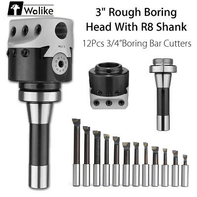 3 Inch Rough Boring Head With R8 Shank And 12pcs 3/4 Inch Boring Bar Cutters Set