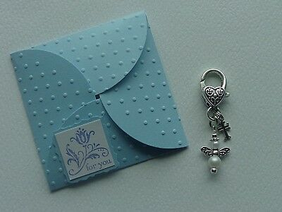 Classy Angel With Cross  Handmade Keychain Clip For Purse Backpack Gift Bag