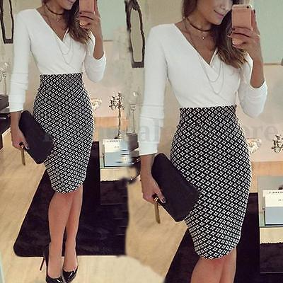 Women OL Formal Business Stretch Cocktail Party Evening Slim Pencil Dress MT