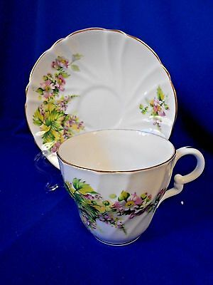 Tea Cup & Saucer Staffordshire Bone China England Gold rim Pink floral White