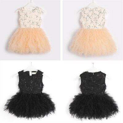 Girls Sequins Tutu Tulle Princess Flower Party Dress Pageant Wedding Bridesmaid