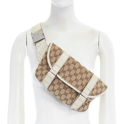 3e5552c48e6d GUCCI GG monogram canvas cream leather strap medium fannypack waist belt bag
