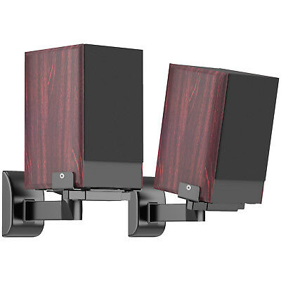 Side Clamping Bookshelf Speaker Wall Mount Brackets for Surround Sound (Pair)