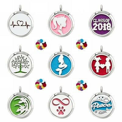 30mm Stainless Steel Aroma Dffuser Locket Pendant Essential Oil Diffuser 10Pads