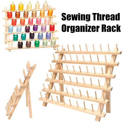60 Spools Sewing Thread Rack Embroidery Storage Wooden Holder Cones Stand