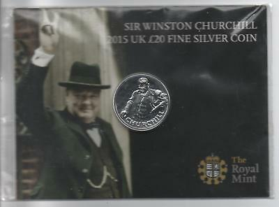 Dated : 2015 - £20 - Fine Silver Coin - The Royal Mint - Sir Winston Churchill