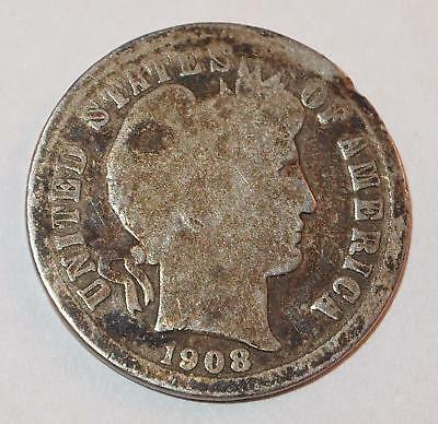 1908-D BARBER LIBERTY HEAD Dime 10 Cents Ten Cent 90% Silver Coin