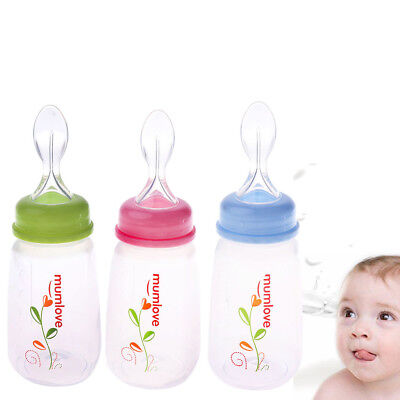Baby Silicone Soft Feeding Tool Weaning Squeeze Feeder Bottle With Spoon KV