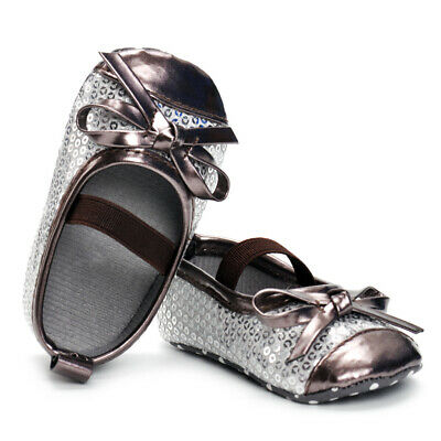 Girls Kids Toddler Baby Sequin Style First Walkers Shoes Bow 0-24M