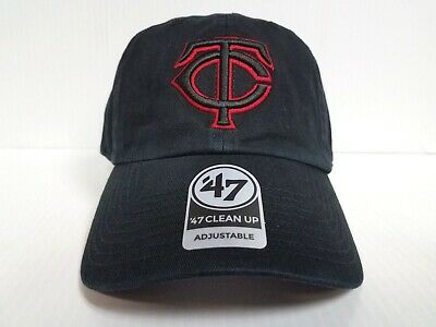 reputable site cb05c eaa8d Minnesota Twins 47 Brand Cap Clean Up Adjustable Strapback Black Dad Hat