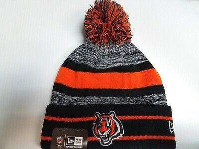size 40 39388 ba1e8 Cincinnati Bengals New Era Knit Hat Striped Cuff Pom Beanie Stocking Cap NFL