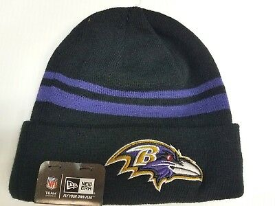 ffca91287 Baltimore Ravens New Era Knit Hat Striped Cuff Beanie Stocking Cap NFL