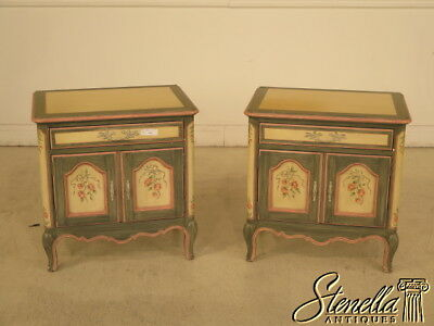 23896: Pair BAKER Venetian Paint Decorated 2 Door Nightstands