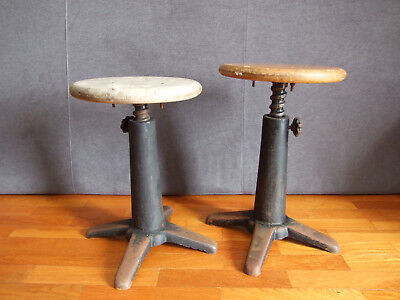 2 Machinist Stools - Singer - Cast Iron - Industrial - Seamstress - *rare*