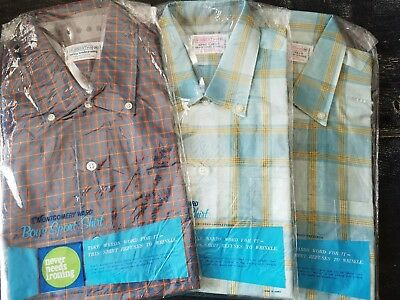 3 vintage 1960s plaid Montgomery ward's boys shirts new old stock mint as 14  16