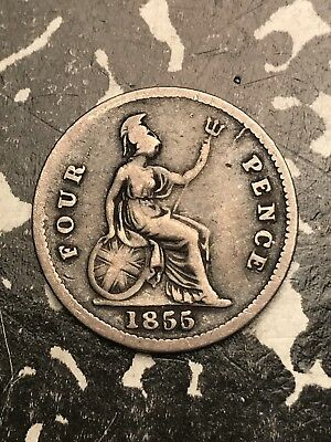 1855/3 Great Britain Groat 4 Pence Fourpence Lot#X5950 Silver! Low Mintage!