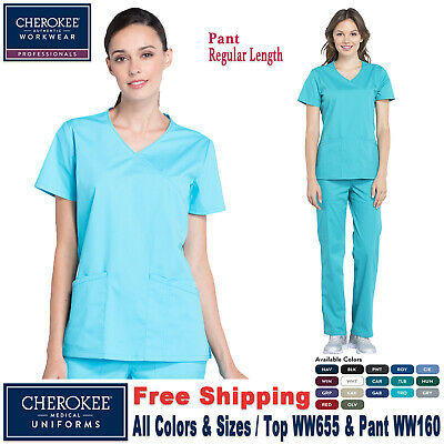 387e239540e Cherokee Scrubs Set PROFESSIONAL V-Neck Top & Waistband  Pant_WW655/WW160_Regular