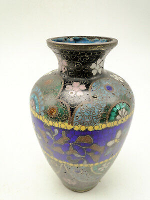 Antique 4 1/4in Asian Cloisonne Enameled Brass Wire Vase