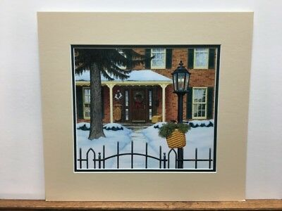 Longaberger Winter Front Porch Sled & Baskets Matted Art Print