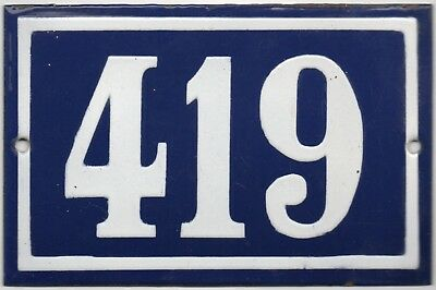 Old blue French house number 419 door gate plate plaque enamel steel metal sign