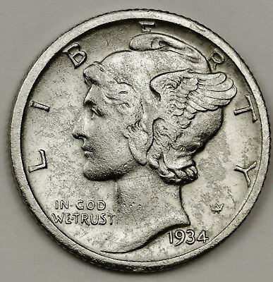 1934-d Mercury Dime.  50% Fully Separated Horizontal Bands.  A.U. Detail. 127180