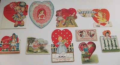 Vintage Valentines Lot of 10 Older Cards Little Girls Great Variety