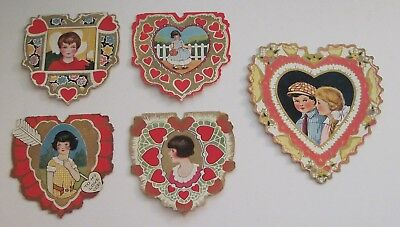 Vintage Valentines Lot of 5 Cards That Open Children Whitney Made