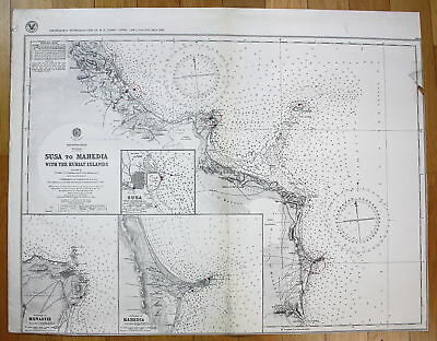 1933 Mediterranean Tunisia Susa to Mahedia with the Kuriat Islands Tunesien map