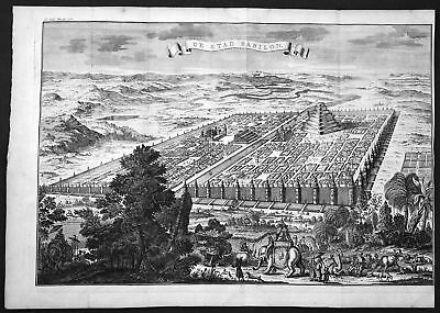 18. Jh Babylon Irak Iraq Stadt city Gesamtansicht view Kupferstich antique print