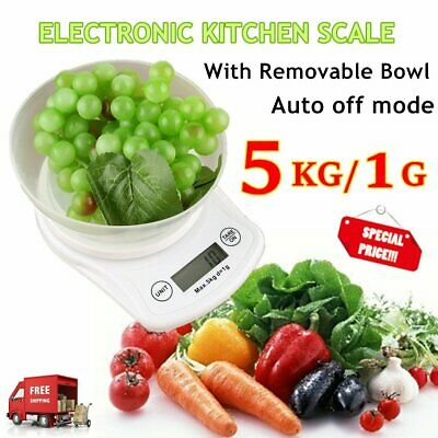 5kg/1g Electronic Kitchen Food Scale with Bowl Digital Weight Scales Auto off GO
