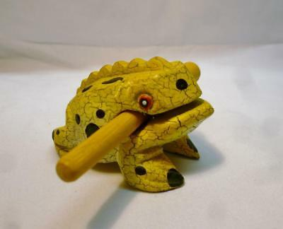 Cute Hand Carved & Painted Wood Yellow & Black Frog With Croaking Stick.