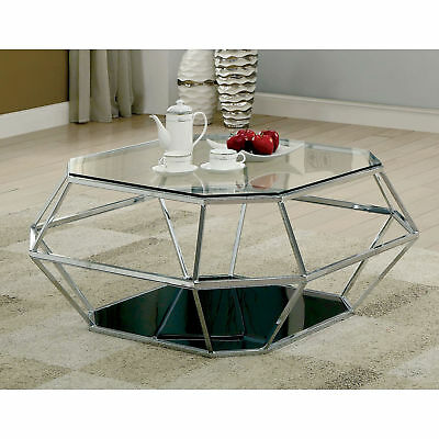 Furniture Of America Dexter Contemporary Hexagonal Glass Top Chrome Coffee Table