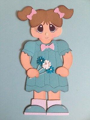 Handcrafted Little Girl With Flowers Paper Piecing - Acid Free - Scrapbooking