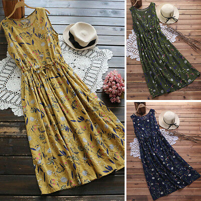ZANZEA 10-24 Women Casual Long Maxi Sundress Beach Party Boho Floral Print Dress