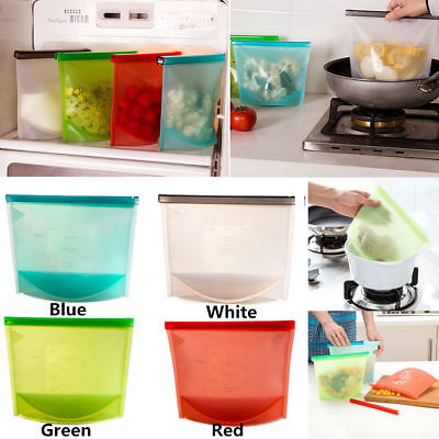 4x Reusable Silicone Vacuum Food Sealer Bags Wrap Fridge Food Storage Containers