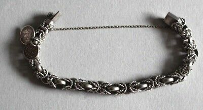 Solid Silver Vintage Bracelet With Two Silver Coins Dated 1834 And 1830. Heavy.