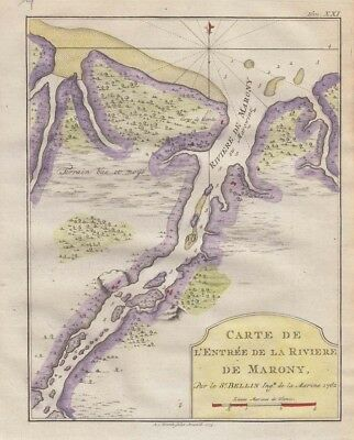 1773  Bellin Map of Guiana - Marony River