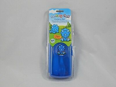 Smash Fantasy Feet Childs Travel Cutlery Set Bpa Free Blue Dinosaur Free P&p