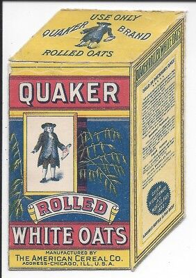Quaker Rolled Oats Trade Card opens to Children, Pets and Doll Breakfast,1880s