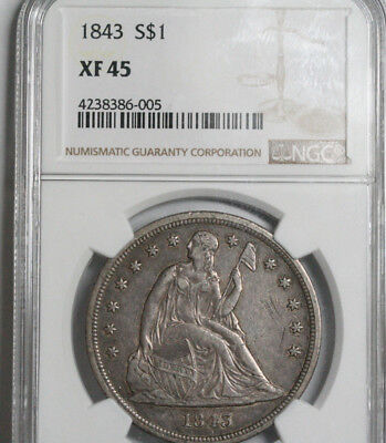 1843 Seated Liberty Dollar    NGC XF45