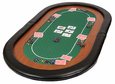 Champion Folding Poker Table Top in Green Suited Speed Cloth 153cm Leather Rest