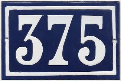 Old blue French house number 375 door gate plate plaque enamel steel metal sign