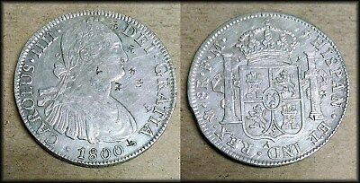 1800 Spain Mexico 8 Reales Portrait Milled Dollar Pirate Treasure High Grade