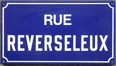 Old French enamel street sign plaque road name plate Reverseleux Etampes 1970s
