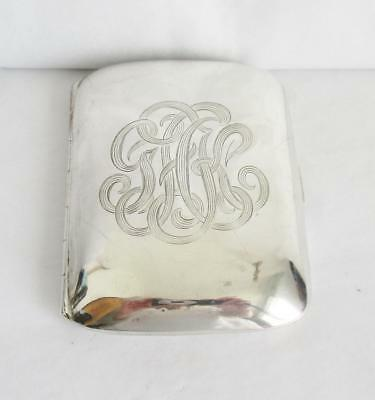 LOVELY ANTIQUE  SILVER CARD CASE MARKED STERLING INITIAL PATTERN FRONT  50g