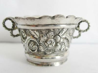 PRETTY ANTIQUE SILVER TWIN HANDLE CUP, VASE? of SMALL PROPORTIONS FLOWER DECOR