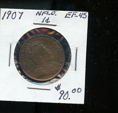 1907 Newfoundland Large Cent EF45 TB207